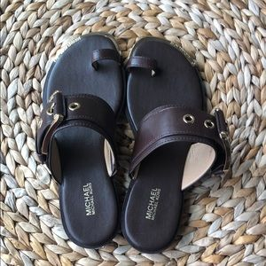 Shoes - Michael Kors brown leather toe ring sandals 7